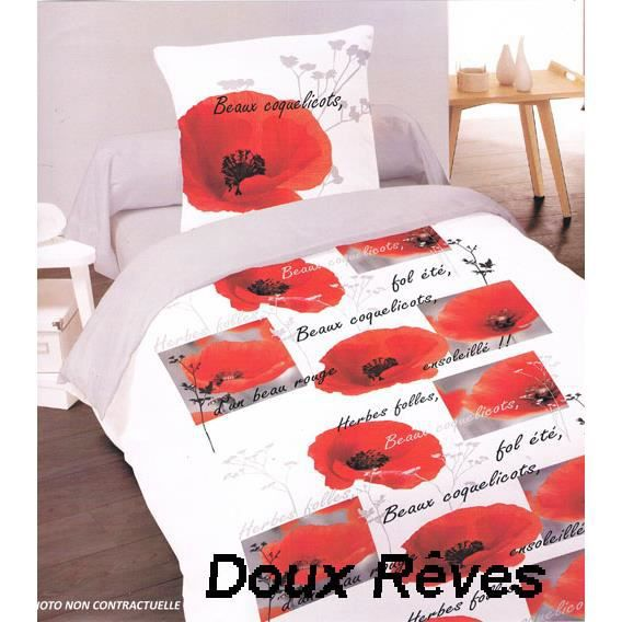 s duction coquelicot housse de couette 260x240 achat housse de couette coquelicot. Black Bedroom Furniture Sets. Home Design Ideas