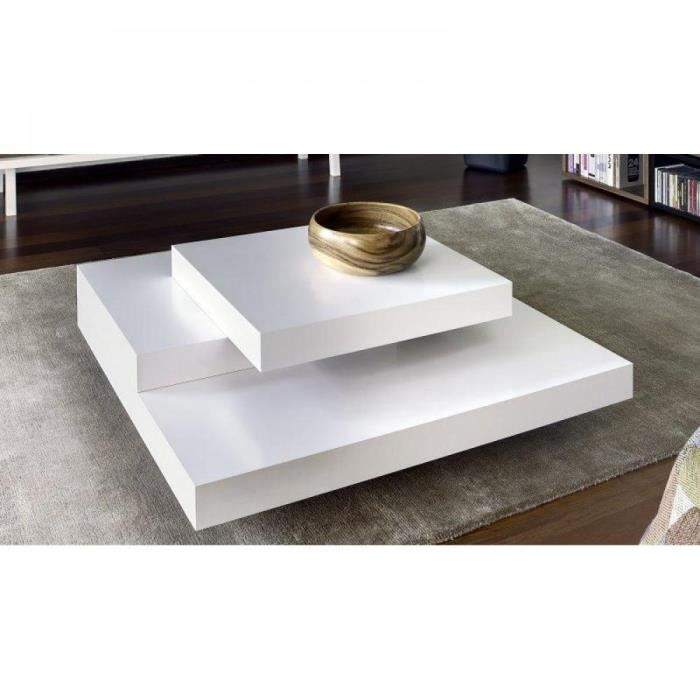 Blade table basse laqu e blanc mat design achat vente for Table basse blanche design