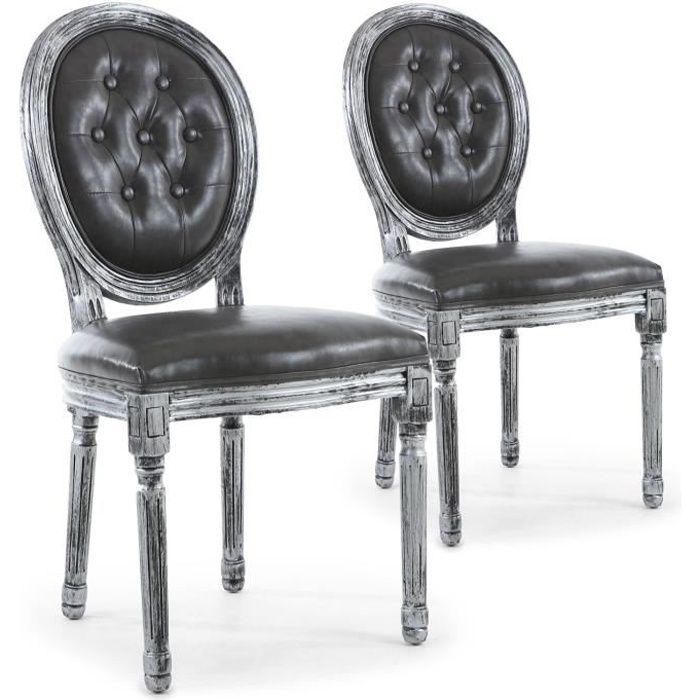 Chaise medaillon noire - Achat / Vente pas cher