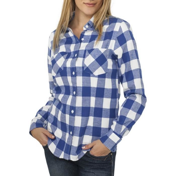 urban classics femme flanell chemise bleu roi bleu achat vente chemisier blouse. Black Bedroom Furniture Sets. Home Design Ideas