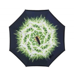 C-Poignée UV réversible Parapluie Double Couche Inversé Dessous Pliant Windproof