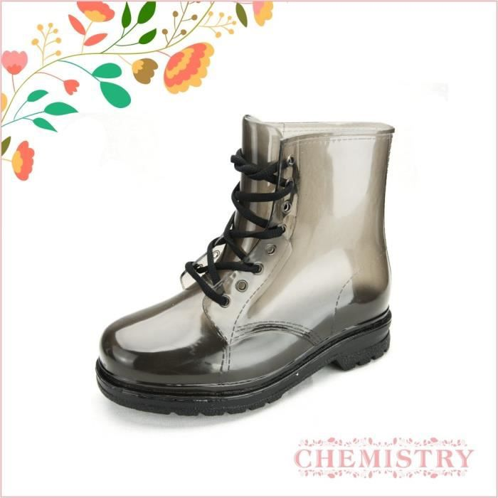 Ankle Flat Grey Transparent Clear Jelly Martin Rain Boots W4N2B Taille-39