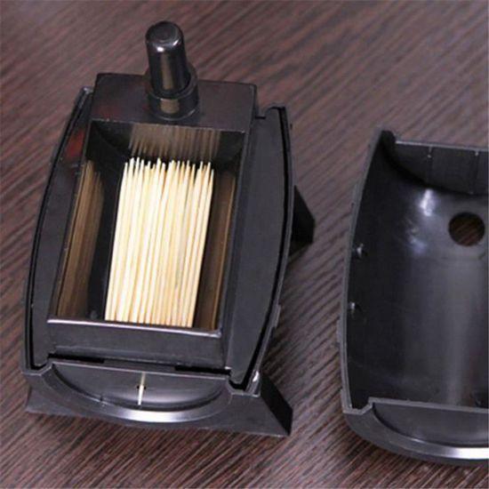 Distributeur de cure-dents automatique en forme de tonneau de vin en plastique argent/é et noir