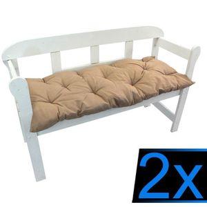 COUSSIN D'EXTÉRIEUR 2x Coussins pour banc 110 x 50 x 8 cm BEIGE – Cous