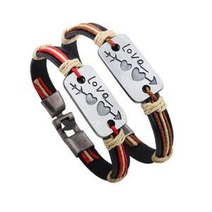 BRACELET - GOURMETTE Bracelet Couple en Cuir pour Femme Homme Gourmette
