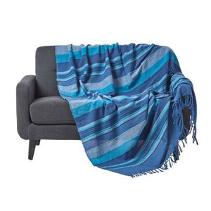 JETÉE DE LIT - BOUTIS Jeté de lit ou de canapé - Morocco rayures  - Bleu