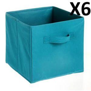 CASIER POUR MEUBLE Lot de 6 Paniers cube de rangement pliable bleu la