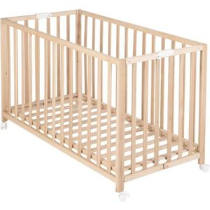 LIT BÉBÉ Lit bébé pliable AXELLE en bois- Chêne et bois - L