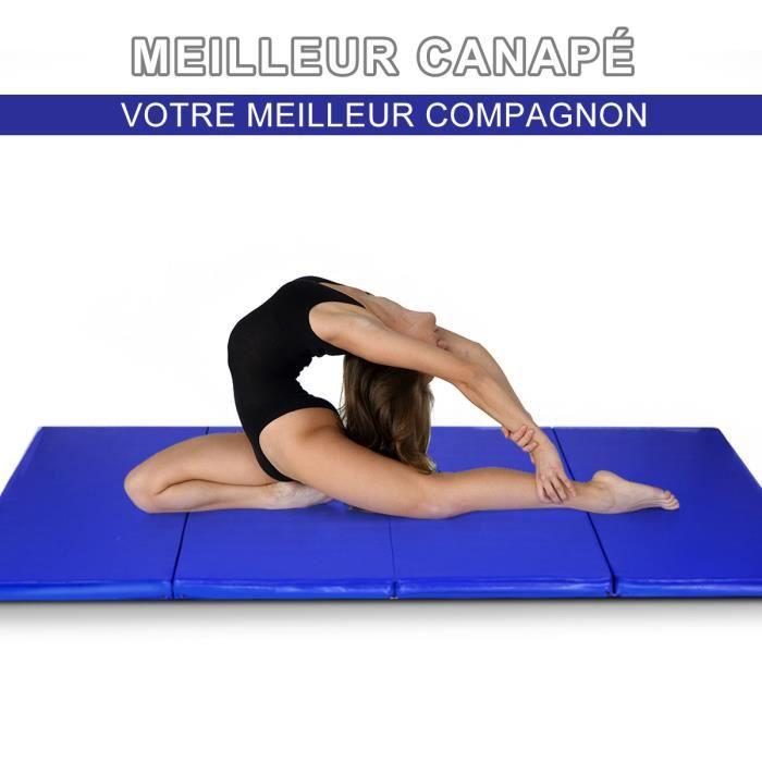 DREAMADE Tapis de Gymnastique Pliable en EPE, Tapis Musculation en 4 panneaux pour Entraînement/Yoga/Pilâte