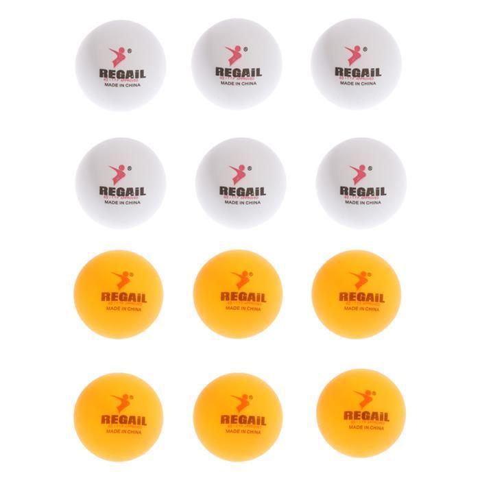 12 Pièces Entraînement Pratique Balles De Ping Pong Balles De Tennis De Table Jaune Blanc