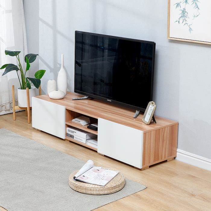 YIS Meuble TV - Banc TV - Style moderne - En bois MDF - Décor Blanc et Chêne - 140 x 40 x 31 cm