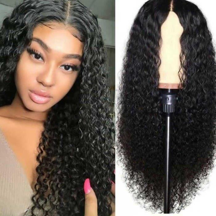Bouclés avant de dentelle perruque brésilienne cheveux Bébé Noir Femmes Remy Hair Lace Wig