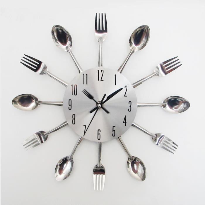 Modern Design ruban coutellerie ustensile de cuisine horloge murale cuillère à fourche horloge