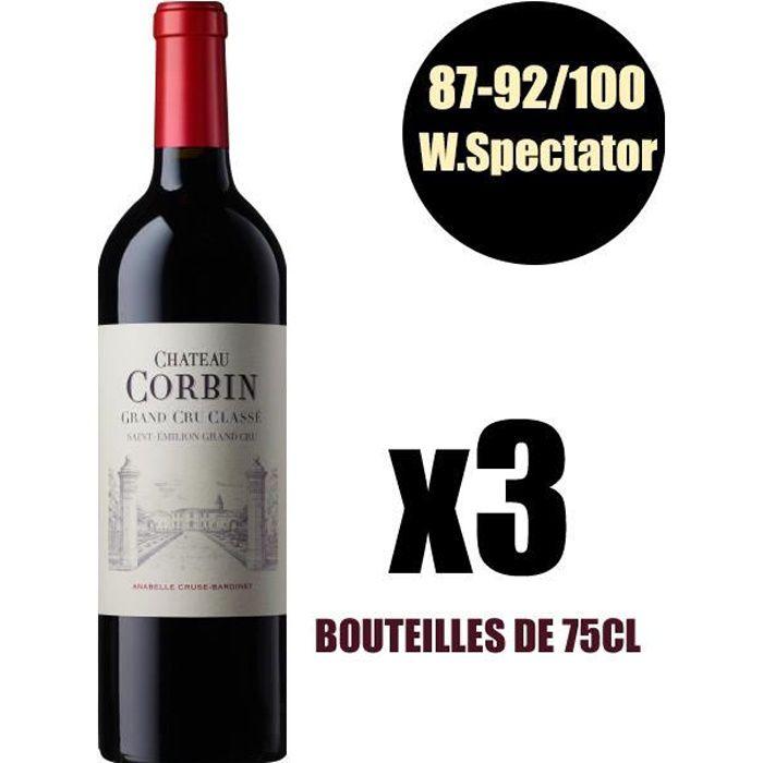 X3 Château Corbin 2014 75 cl AOC Saint-Emilion Grand Cru Classé Rouge Vin Rouge