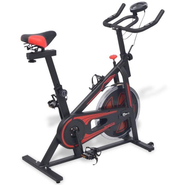Vélo d'appartement avec un porte-bouteille - 15 kg Masse d'inertie - Vélo statique avec capteurs de pouls - 97 x 46 x 108 cm - Rouge