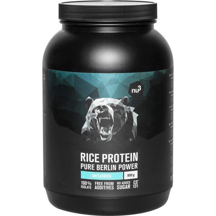 Protéine de Riz en poudre 800g Riche en Protéines végétales Vegan sans lactose sans gluten 80% de Protéines naturelles Prise 115
