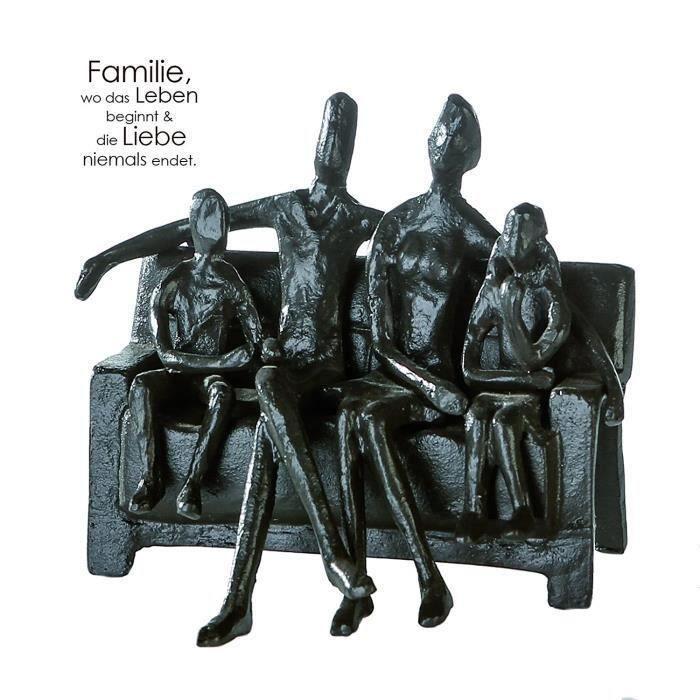 Figurines de collection Casablanca – Figurine, statuette, sculpture – Sitting Family, famille sur banc – Fer brunie – 12 27561