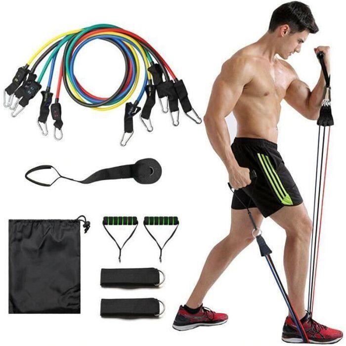 Bande de Résistance Set Bandes de Fitness Elastiques Kit avec Poignées Ancre de Porte & Sangles Pied pour Fitness Pilates Yoga Gym