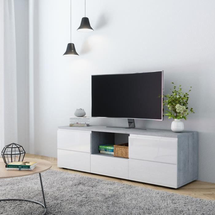 e-Com Meuble TV Sydney - 140 cm - Béton et Blanc Brillant