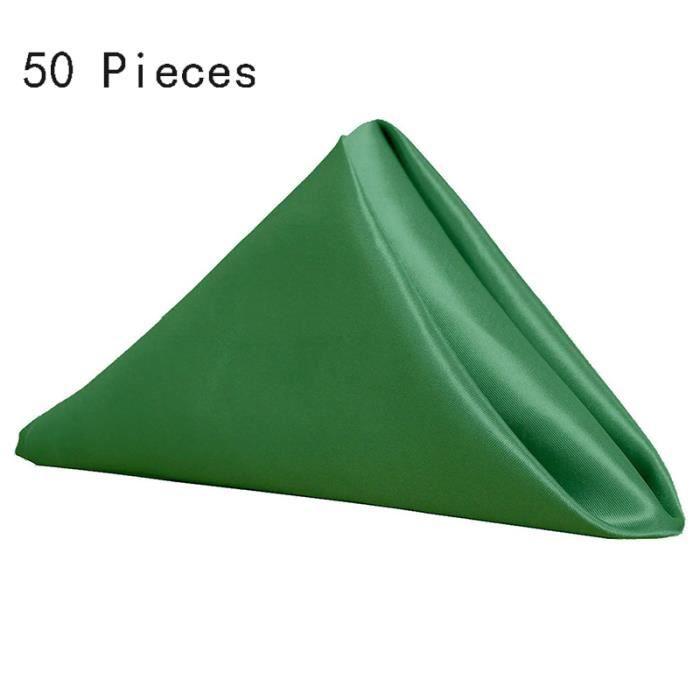 Lot de 50 serviettes de table de Marque Imitation soie 40×40 cm Serviette de table vert émeraude