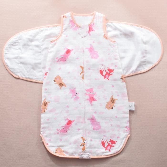 Sommeil bebe housse de pyjama bebe Coton Sac de Gigoteuse couvertures sans manches en coton Été pour bébé Zip Sécurisé -75-Rose