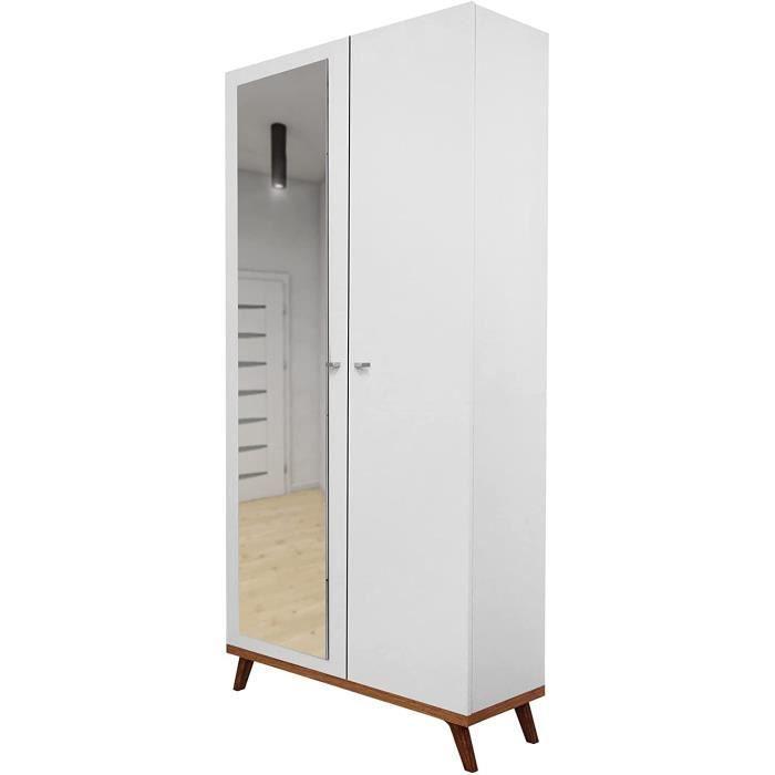 Armoire à portes battantes Felice 5 AF blanc avec miroir