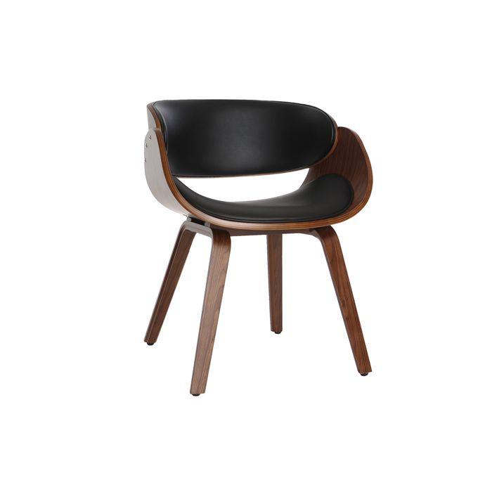 Miliboo - Chaise design noir et bois foncé noyer BENT