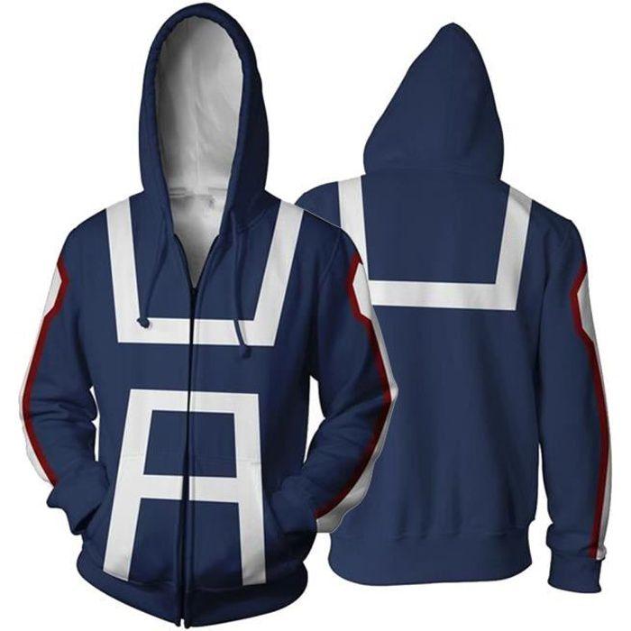 Homme Sweat My Hero Academia Zippé 3D Hoodies Décontracté Manche Longue Imprimé Sweat-shirt