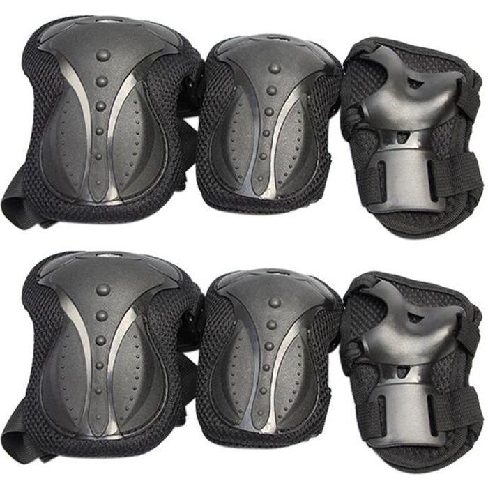 PROTEGE-CHEVILLES - CHEVILLERE,6 pièces adulte roller Protection équipement ensemble accessoires du corps coude - Type Black