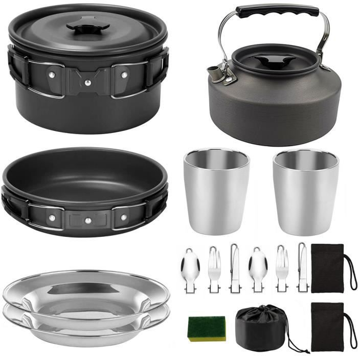 Camping Ensembles de cuisine Batterie de cuisine Pot Coupes Pan assiettes Forks pour Cuiller Cooker extérieur Randonnée