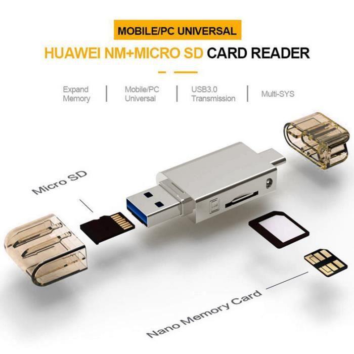 2 en 1 lecteur carte mémoire Type-C USB3.0 vers Micro-SD/NM Carte mémoire pour Mobile/PC Use Nano