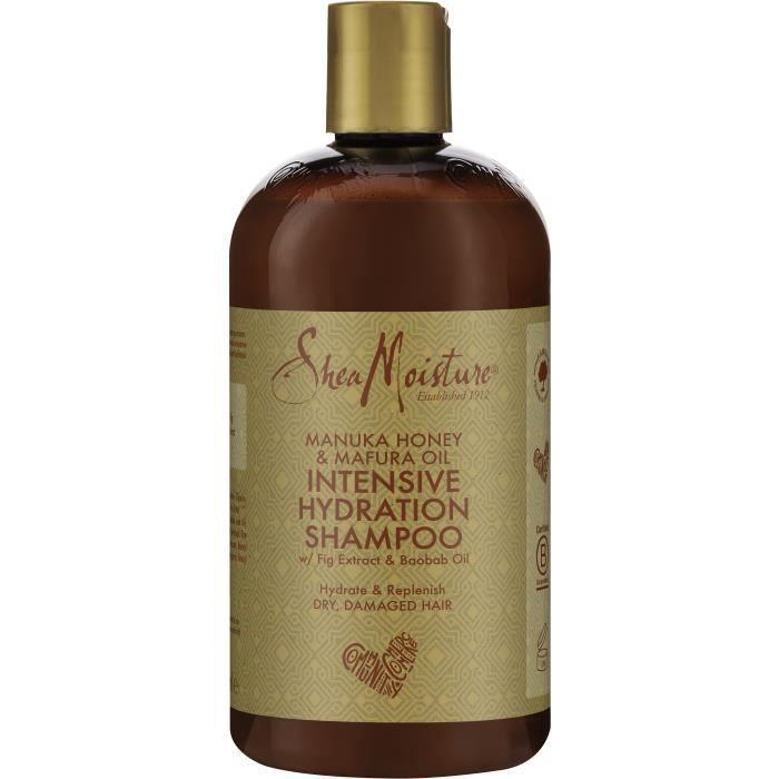 Shea Moisture Shampooing Femme Hydratation Intense au Miel de Manuka et huile de Mafura pour cheveux secs et abîmés, 384ml