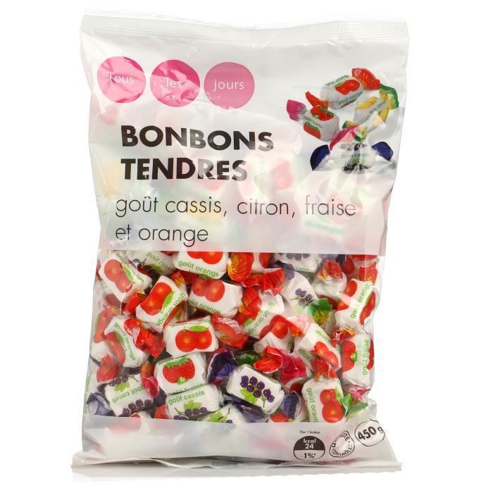 TOUS LES JOURS Bonbons tendres, goût cassis, citron, et orange - 450 g