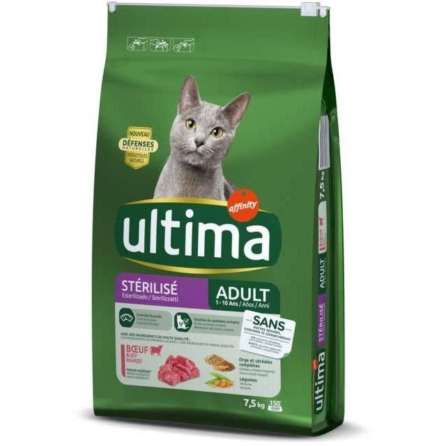 ULTIMA Croquettes au bœuf pour chat adulte stérilisé - 7,5 kg