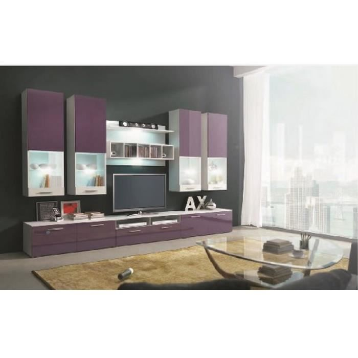 Ensemble meuble tv bas violet design avec led rina salon - Meuble bas design salon ...