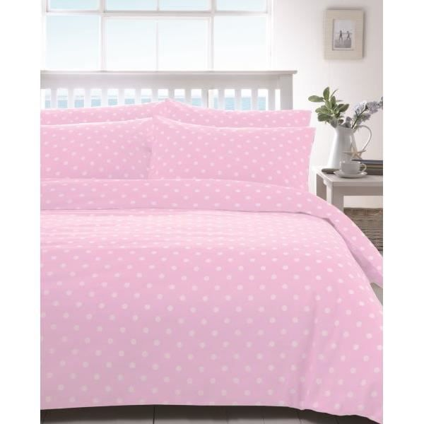 housse de couette 260x240 cm flanelle polka rose 2 taies d oreiller 63x63 cm fabrication. Black Bedroom Furniture Sets. Home Design Ideas