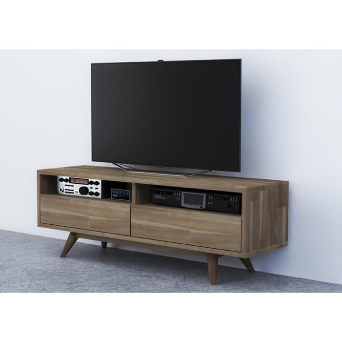 meuble tv scandi en acacia massif achat vente meuble. Black Bedroom Furniture Sets. Home Design Ideas