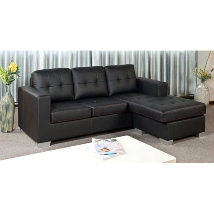 canap d 39 angle noir r versible lucie achat vente canap sofa divan cuir cdiscount. Black Bedroom Furniture Sets. Home Design Ideas