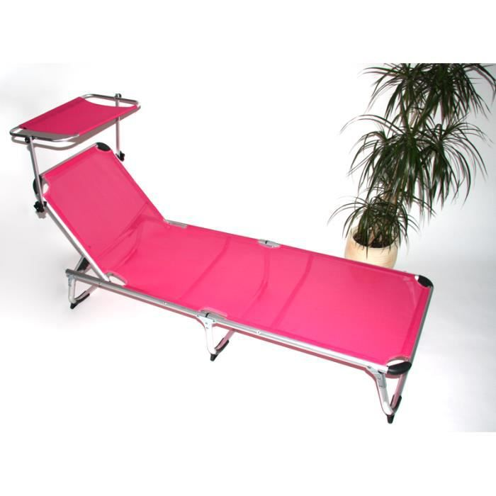 relax si ge bain de soleil aluminium avec pare soleil m11 rose vif achat vente chaise. Black Bedroom Furniture Sets. Home Design Ideas