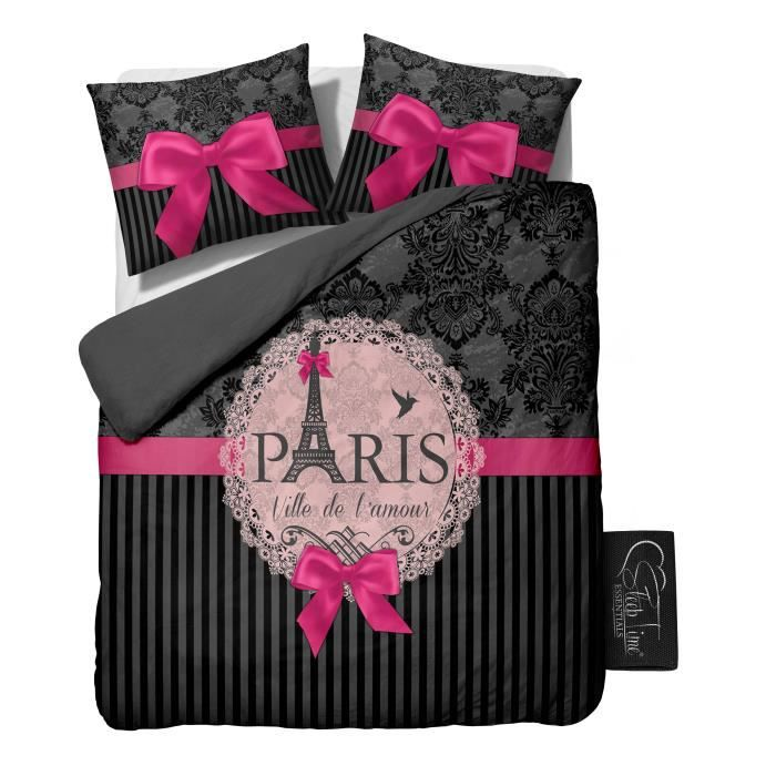 housse de couette i love paris pink 240x220 cm achat vente housse de couette cdiscount. Black Bedroom Furniture Sets. Home Design Ideas