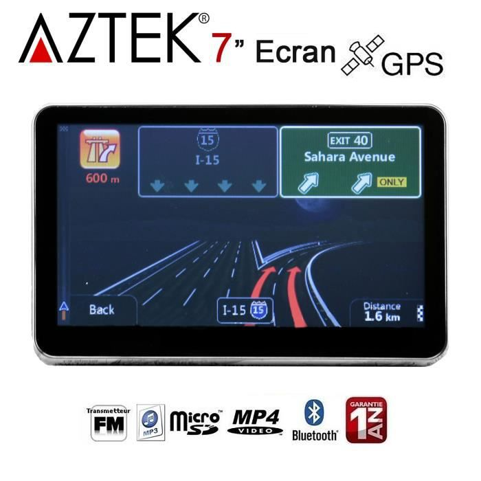 aztek gps auto 7 pouces 4go bluetooth main libre radio fm vocal achat vente gps auto aztek. Black Bedroom Furniture Sets. Home Design Ideas