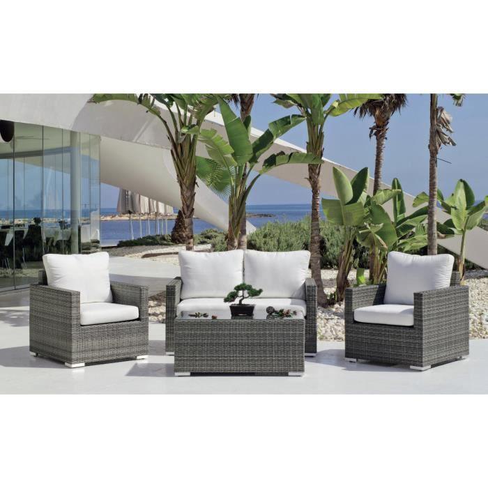 Salon de jardin résine grise Doha - Achat / Vente salon de ...