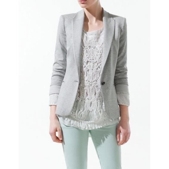 veste zara blazer jersey gris clair gris achat vente veste soldes d t d s le 22 juin. Black Bedroom Furniture Sets. Home Design Ideas