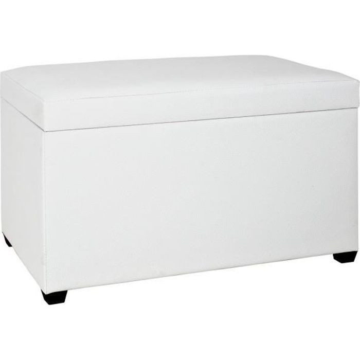 banc coffre de rangement blanc 65 cm achat vente. Black Bedroom Furniture Sets. Home Design Ideas