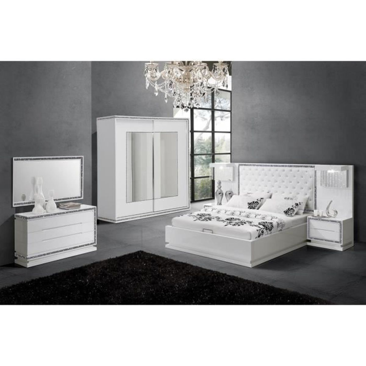 chambre compl te design coloris blanc laqu avec strass. Black Bedroom Furniture Sets. Home Design Ideas