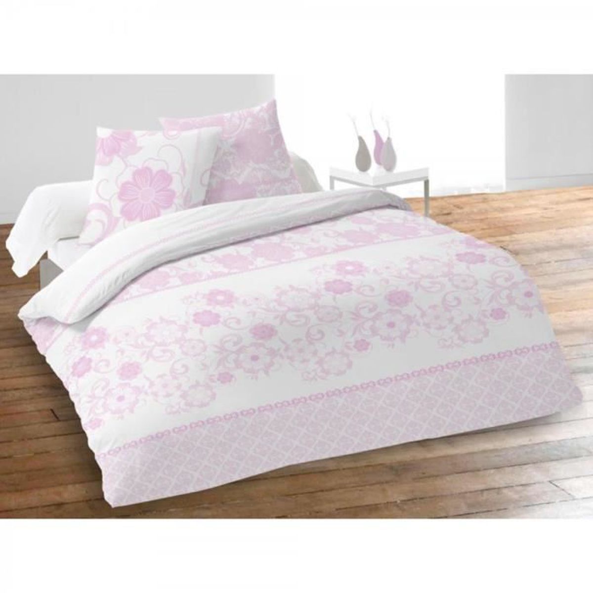 parure de lit fleur rose achat vente pas cher. Black Bedroom Furniture Sets. Home Design Ideas