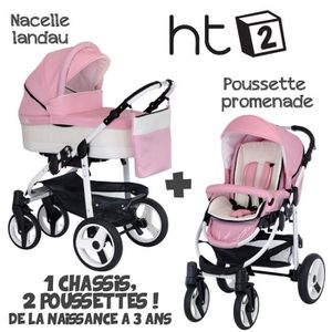 POUSSETTE  Poussette Combinée Duo 2 en 1 HT2 Rose Pâle