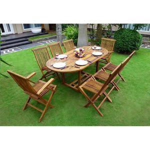 Ensemble table et chaise de jardin Salon de jardin en teck pour 8 personnes - table o