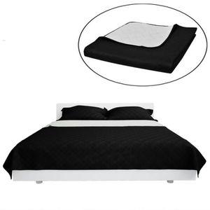 JETÉE DE LIT - BOUTIS Couvre-lits à double côtés Noir-Blanc 220 x 240 cm