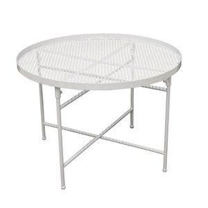 BOUT DE CANAPÉ Table d'appoint Métal perforé - Blanc - L 50 x P 5